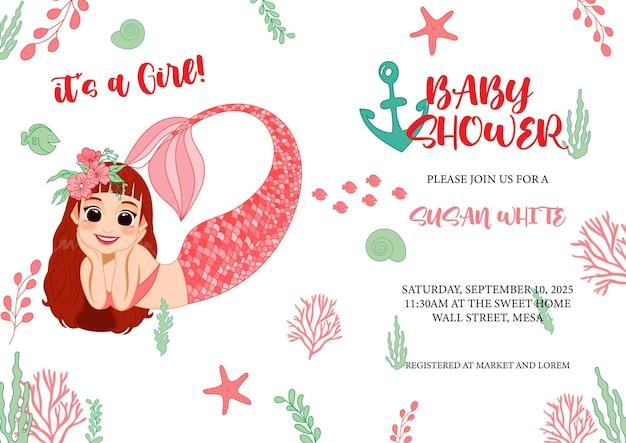 Cute dibujos animados de sirena y vida marina para tarjeta de invitación de baby shower
