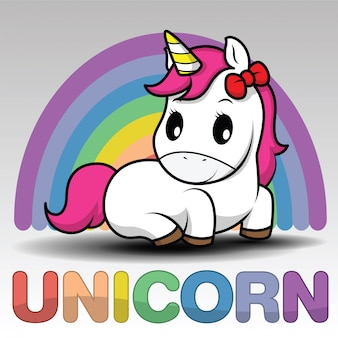 Cute dibujos animados sonriendo unicornio sobre un fondo blanco