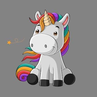 Cute dibujos animados sonriente unicornio, dibujado a mano