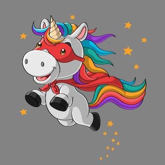 Cute dibujos animados de superhéroe unicornio, volando en el cielo, dibujado a mano