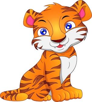 Cute dibujos animados de tigre bebé en un blanco