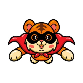 Cute dibujos animados de tigre superhéroe volando