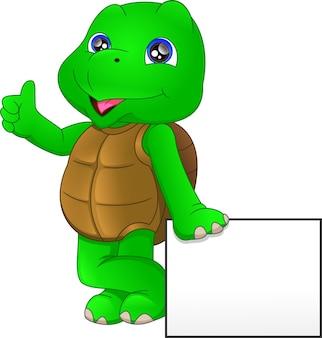 Cute dibujos animados de tortuga verde con cartel en blanco
