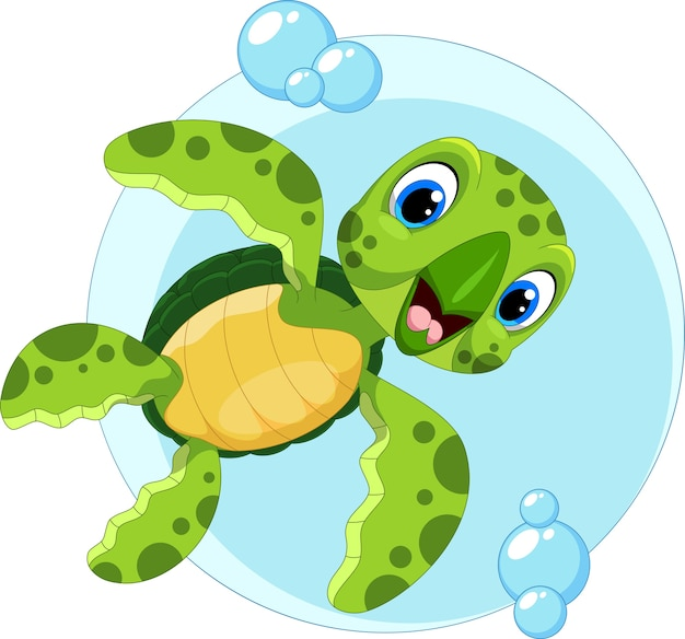 Cute dibujos animados de tortugas marinas