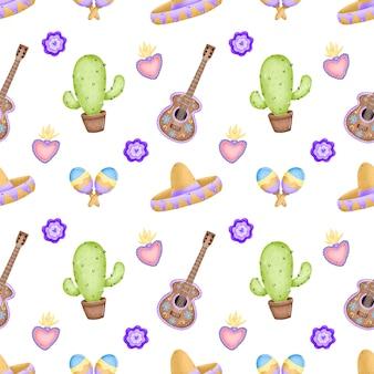 Cute dibujos animados tradicional mexicana de patrones sin fisuras. cactus, sombrero, guitarra, flores, maracas, corazón tradicional mexicano con fuego sobre un fondo blanco.