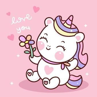 Cute dibujos animados de unicornio con flor estilo kawaii