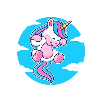 Cute dibujos animados de unicornio con fondo de cielo