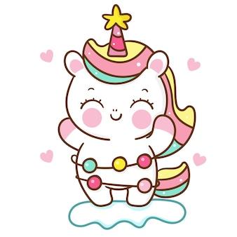 Cute dibujos animados de unicornio con guirnalda de luz kawaii dibujada a mano