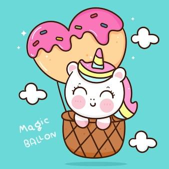 Cute dibujos animados de unicornio en ilustración de kawaii de globo de corazón