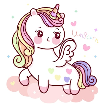 Cute dibujos animados unicornio pegaso en cielo pastel animal kawaii