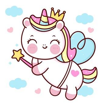 Cute dibujos animados de unicornio pegasus con varita mágica en el cielo animal kawaii