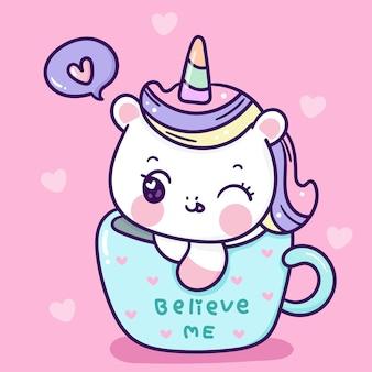 Cute dibujos animados de unicornio en la taza de amor animal kawaii para el día de san valentín