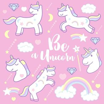 Cute dibujos animados unicornios, ilustración vectorial
