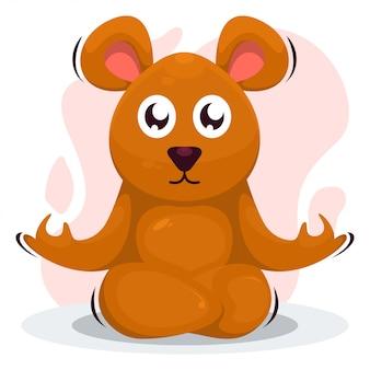 Cute dibujos animados de yoga mouse