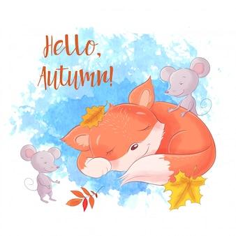 Cute dibujos animados zorro y ratón