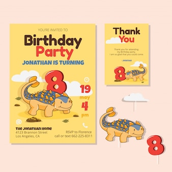 Cute dinosaur theme 8th birthday party invitation card