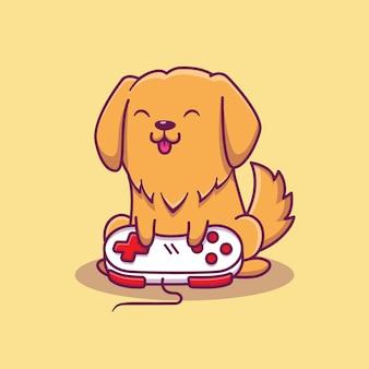 Cute dog gaming icon ilustración. concepto de icono de juego animal aislado. estilo plano de dibujos animados