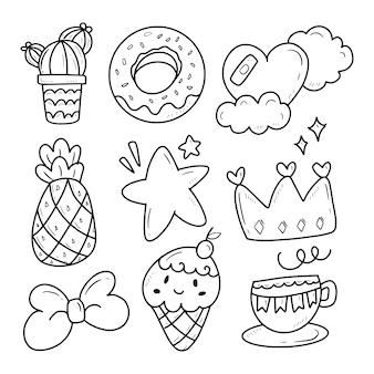 Cute donuts cactus doodle dibujo ilustración colección