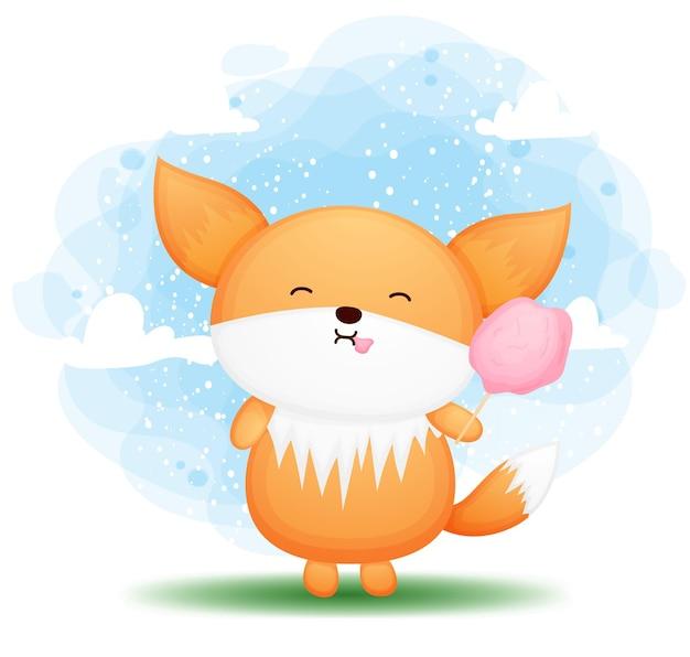 Cute doodle baby fox comiendo algodón de azúcar ilustración de dibujos animados