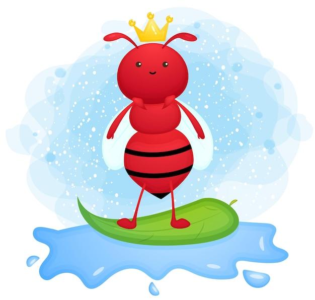 Cute doodle hormiga jugando personaje de dibujos animados de surf