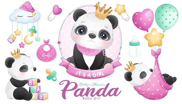 Cute doodle panda baby shower con conjunto de ilustraciones de acuarela