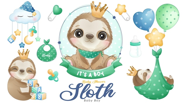 Cute doodle perezoso baby shower con conjunto de ilustraciones de acuarela