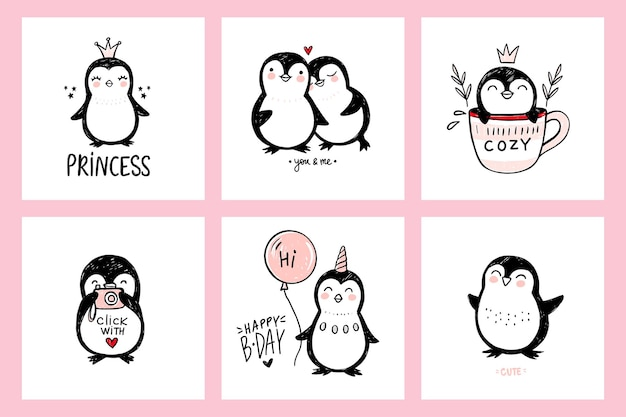 Cute doodle pingüino ilustraciones animales aislados en blanco arte ingenuo