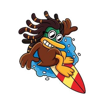 Cute duck surfing con cool expression cartoon icon ilustración