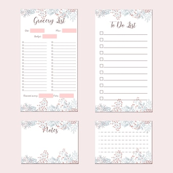 Cute flower minimalist stationery set, grocery list, to do list, notes, memo