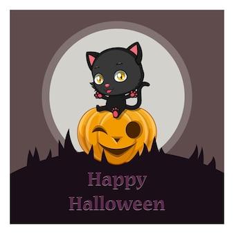 Cute gato negro sentado en una calabaza de halloween