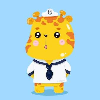 Cute giraffe sailor cartoon animal ilustraciones