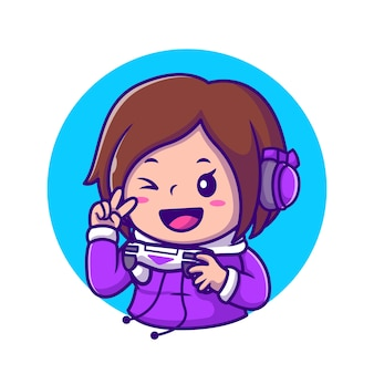Cute girl gaming holding joystick con mano peace cartoon icon illustration. concepto de icono de tecnología de personas aislado. estilo de dibujos animados plana