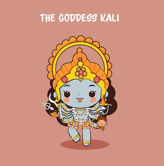 Cute goddess kali, dios hindú para el festival navratri en india