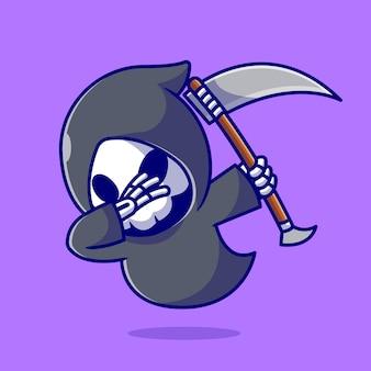 Cute grim reaper dabbing cartoon icon illustration.