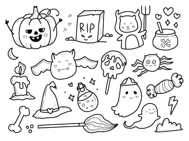 Cute halloween monster doodle set colección
