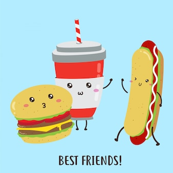 Cute happy deliciosas hamburguesas, hot dog, bebidas diseño vectorial