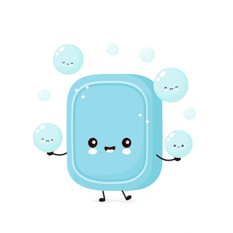 Cute happy jabon malabares burbuja de espuma