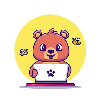 Cute honey bear operando laptop cartoon vector illustration. vector aislado del concepto de tecnología animal. estilo de dibujos animados plana