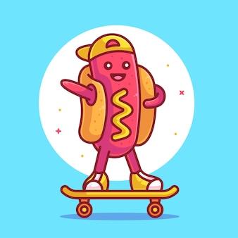 Cute hot dog montar patineta logo vector icono ilustración logotipo de dibujos animados de comida rápida premium