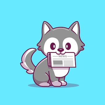 Cute husky with newspaper cartoon icon illustration. concepto de icono animal aislado. estilo plano de dibujos animados