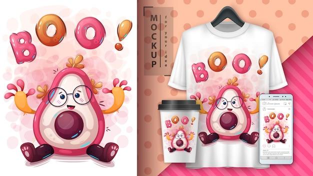 Cute ilustración de aguacate y merchandising