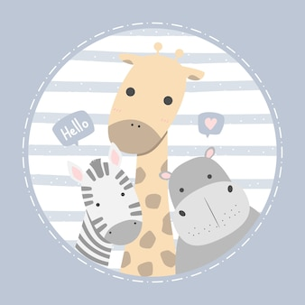 Cute jirafa hipopótamo y cebra saludo dibujos animados doodle pastel infantil tarjeta