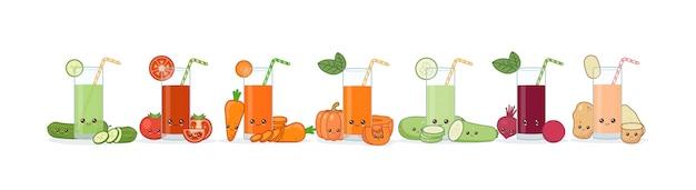 Cute kawai sonriendo jugo de vegetales de dibujos animados.