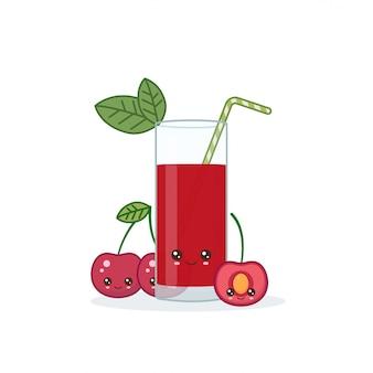 Cute kawai sonriente dibujos animados jugo de cereza. vector