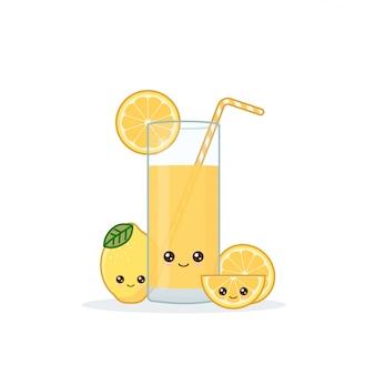 Cute kawai sonriente jugo de limón de dibujos animados.