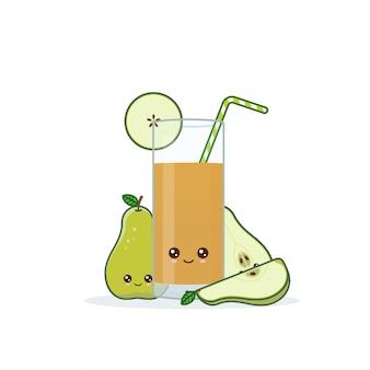 Cute kawai sonriente jugo de pera de dibujos animados.