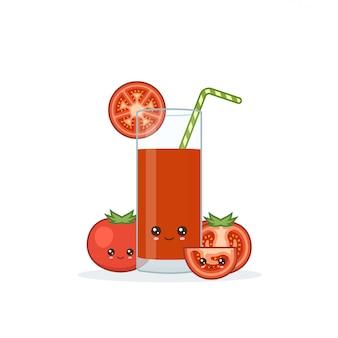 Cute kawai sonriente jugo de tomate de dibujos animados. vector