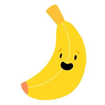 Cute kawaii banana linda fruta amarilla con cara ilustración vectorial de stock sobre un fondo blanco.