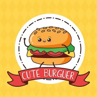 Cute kawaii burger en etiqueta, diseño de alimentos, ilustración