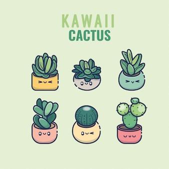 Cute kawaii cactus y suculentas dibujos animados